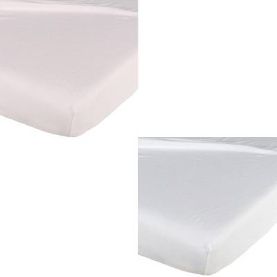 Lot de 2 draps housse blanc / rose (60 x 120 cm)