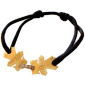 Bracelet cordon 2 enfants 17 mm (or jaune 750� et anneau diamant) - Loupidou