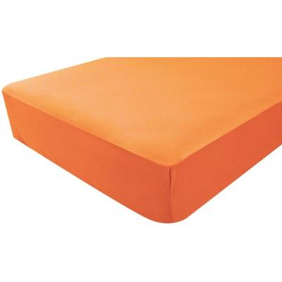 Drap housse jersey orange corail (40 x 80 cm)