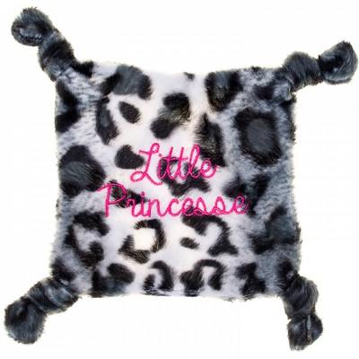 Doudou plat fourrure léopard Little Princesse gris et blanc