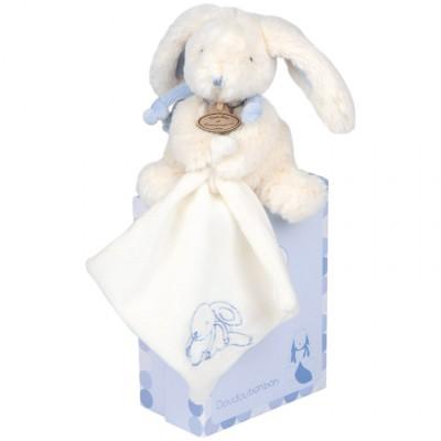 Coffret peluche Mon tout petit Lapin Bonbon bleu et doudou (18 cm)