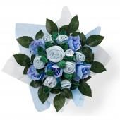 Bouquet de naissance Hand tied bouquet bleu (9 pi�ces) - Babyblooms