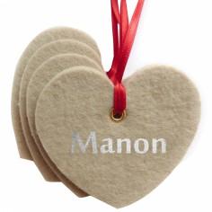 Kit d�coration de No�l en feutrine coeurs beiges - Les Griottes