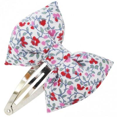 barrette classique noeud papillon fleuri rose. Black Bedroom Furniture Sets. Home Design Ideas