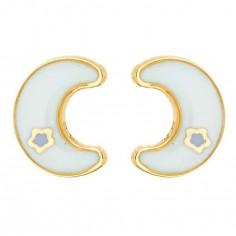 Boucles d'oreilles Lune laqu�e (or jaune 750�)