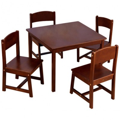 ensemble table de ferme et ses 4 chaises marron kidkraft. Black Bedroom Furniture Sets. Home Design Ideas