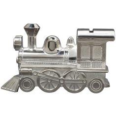 Tirelire Locomotive (m�tal argent�) - Orf�vrerie de Cr�vigny