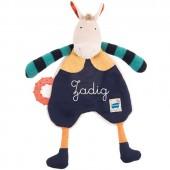 Doudou avec anneau de dentition cheval Les Zig et Zag personnalisable (32 cm) - Moulin Roty