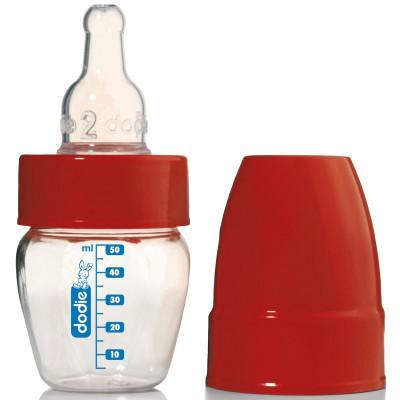 Micro-biberon pour médicaments col étroit rouge (50 ml)