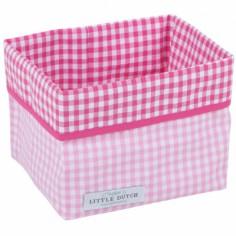 Panier de rangement Carreau rose et fuchsia (petit mod�le)  - Little Dutch