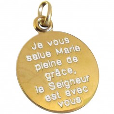 M�daille Je vous salue Marie 18 mm (or jaune 750�)