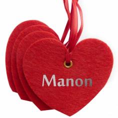 Kit d�coration de No�l en feutrine coeurs rouges - Les Griottes