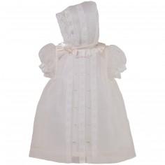 Robe courte de bapt�me dentelle �crue organza avec b�guin (12 mois : 74 cm)  - Alves