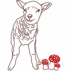 Sticker mural petit mouton chocolat (70 x 53 cm) - Mimi'lou