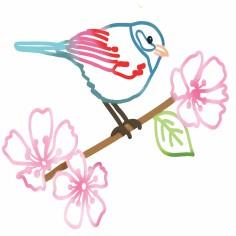 Stickers mural oiseau sur branche (22 x 30 cm) - Mimi'lou