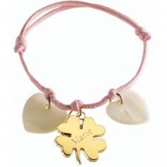 Bracelet cordon Lucky coeur (plaqu� or jaune et nacre) - Petits tr�sors