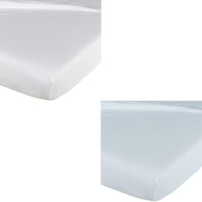 Lot de 2 draps housse blanc / bleu (60 x 120 cm)