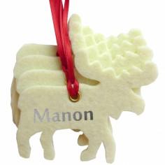 Kit d�coration de No�l en feutrine rennes blancs - Les Griottes