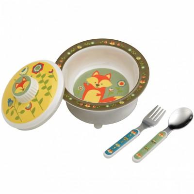 Coffret repas renard kaki (bol avec couvercle + couverts)