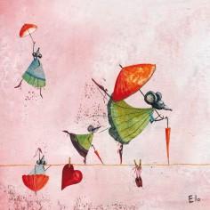 Tableau Les funambules by Manuela Magni (40 x 40 cm) - Lilipinso