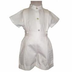 Tenue de bapt�me bermuda et chemisette blanche (2 ans) - Nice Kids