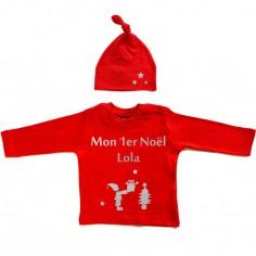 Set Tee-shirt personnalisable + bonnet Mon Premier No�l (6-12 mois) - Les Griottes