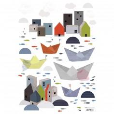 Stickers A3 village en bord de mer En mer by Sophie Cordier (29,7 x 42 cm) - Lilipinso