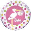 Ballons Cigogne roses (2 pièces) - Baby S Event