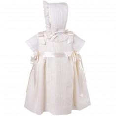 Robe courte de bapt�me �crue rubans satin�s avec b�guin (12 cm : 74 cm) - Alves