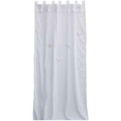 Rideau blanc Coeurs suspendus (100 x 280 cm) - Taftan