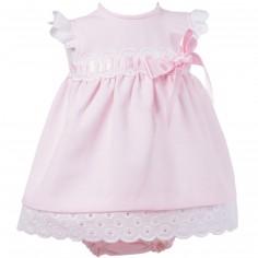 Robe courte de bapt�me rose avec bloomer et b�guin (3 mois : 60 cm)  - Alves