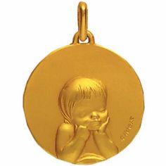 M�daille 18 mm Enfant la�que (or jaune 750�)