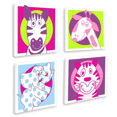 Tableau quatuor drôle d'animaux (20 x 20 cm)
