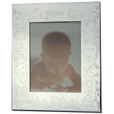 Cadre photo th�me naissance personnalisable (m�tal argent�) - Valentin gravure