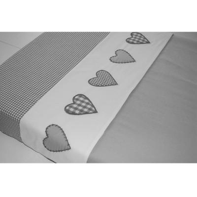 Drap de lit coeur patchwork gris (100 x 80 cm)