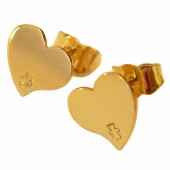 Boucles d'oreilles coeur 9 mm (or jaune 750�) - Loupidou
