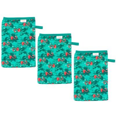 Lot de 3 gants de toilette en mousseline flamingo