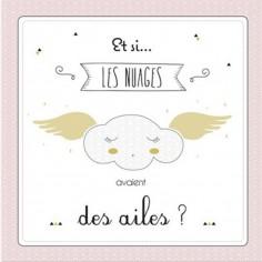 Tableau de naissance Les nuages rose poudr� (33 x 41 cm) - Mes mots d�co