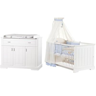 Pack duo cottage lit bébé évolutif et commode à langer