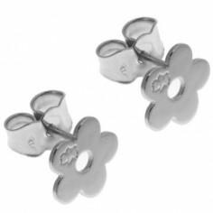 Boucles d'oreilles marguerite 9 mm (or blanc 750�) - Loupidou