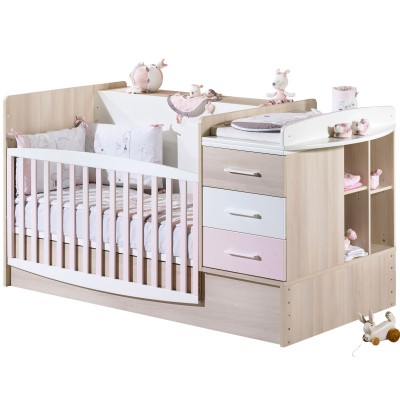 lit bb volutif milk rose transformable en lit combin. Black Bedroom Furniture Sets. Home Design Ideas
