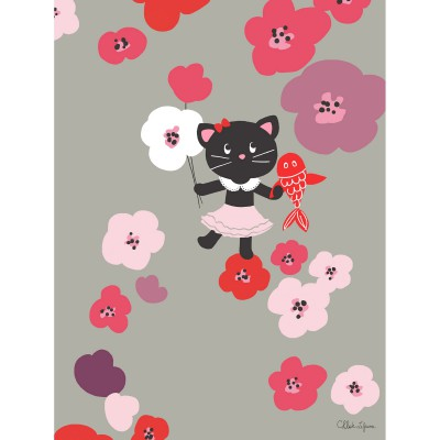 Tableau flowers forever by chlo lefeuvre 30 x 40 cm for Tableau chambre bebe fille