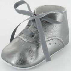Chaussons b�b� Diese en cuir lisse gris (6-12 mois) - Le Petit Fils du cordonnier