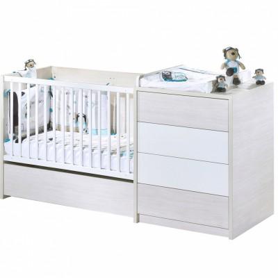 lit bb volutif opale blanc avec son tiroir 60 x 120 cm. Black Bedroom Furniture Sets. Home Design Ideas
