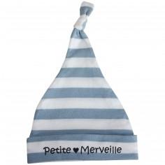 Bonnet naissance doubl� Petite Merveille ray� bleu/blanc - BB & Co