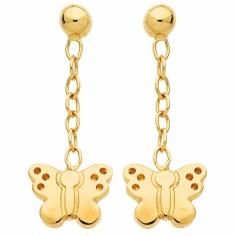 Boucles d'oreilles pendantes Papillon (or jaune 750�)