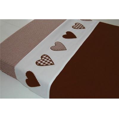 Drap de lit coeur patchwork chocolat (100 x 80 cm)