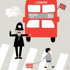 Tableau Big little bus by La�titia Ho (30 x 30 cm) - Lilipinso