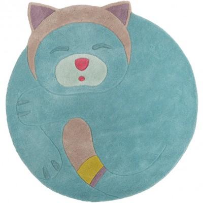 tapis en laine rond turquoise chat les pachats 125 x 110 cm. Black Bedroom Furniture Sets. Home Design Ideas