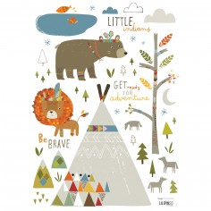 stickers a3 little indians by paper cloth 297 x 42 cm - Chambre Bebe Ourson